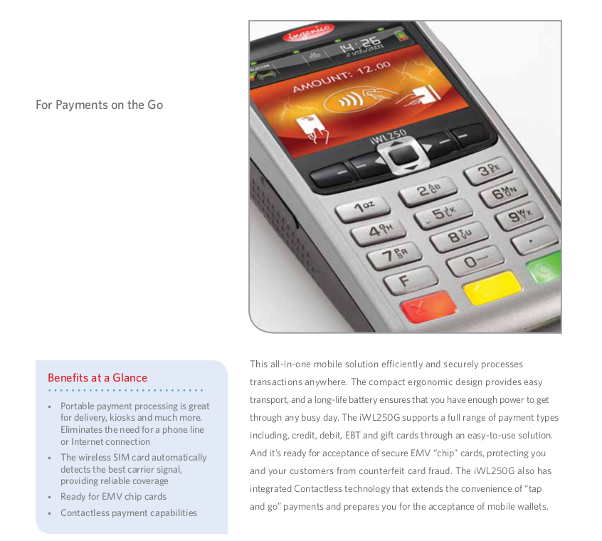 Ingenico iWL 250G Mobile Payment Credit Card Terminal